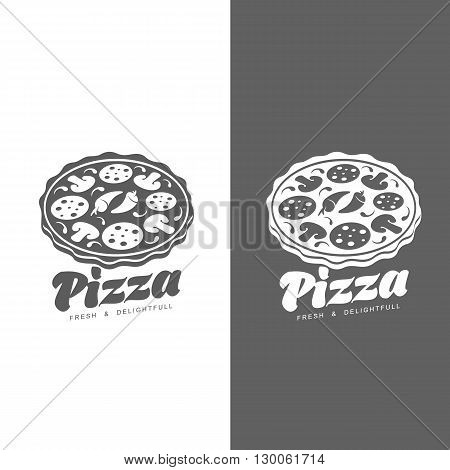 Logo pizza, fast food, vector monochrome badge pizza, pizza with mushrooms, salami, in the oven, slice of pizza with peppers, hot Italian fast food, label for food products, cafe, restaurant
