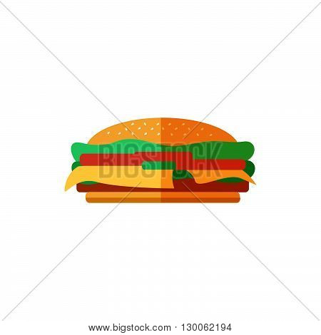 Color burger in flat style. Fresh cheeseburger on a white background. Isolated vector illustration of a junk food. Icon logo for a cafe or restaurant