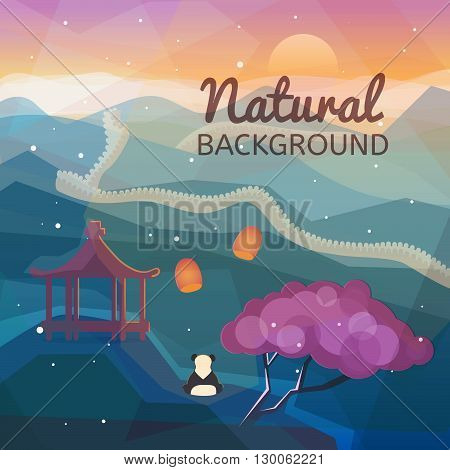 Asian natural background. Eastern Chinese landscape. Mountains nature with traditional Chinese elements. Low polygon style flat illustrations. For web and mobile phone print.