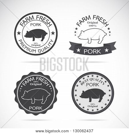 Set of vector pig label on white background Logo Symbol banners