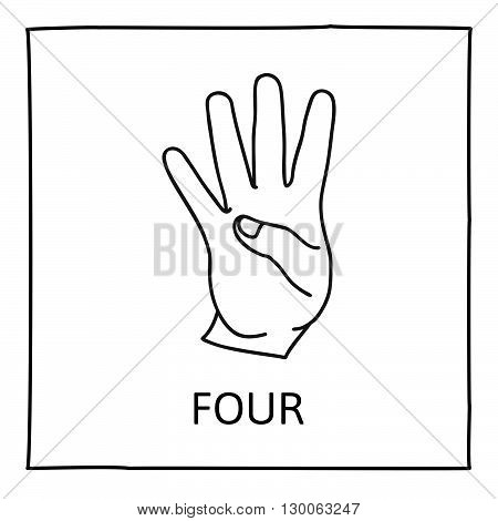 Doodle Palm icon. Counting hands showing four fingers. Graphic design element for teaching math to young children as school printout. Great for showing numbers on your design in a fun and creative way.