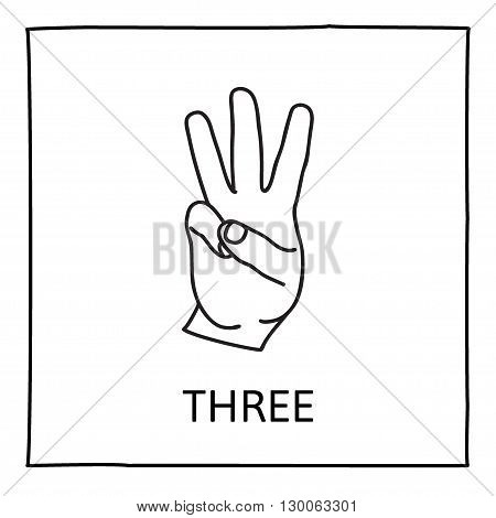 Doodle Palm icon. Counting hands showing three  fingers. Graphic design element for teaching math to young children as school printout. Great for showing numbers on your design in a fun and creative way.