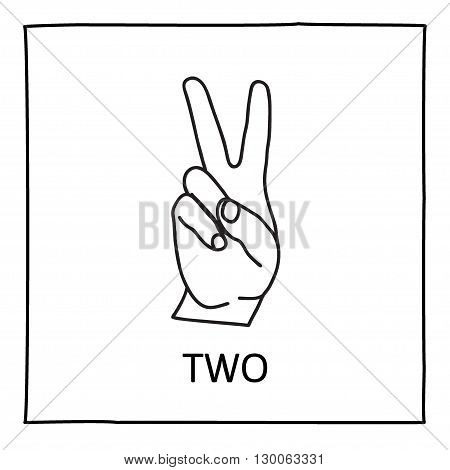 Doodle Palm icon. Counting hands showing two fingers. Graphic design element for teaching math to young children as school printout. Great for showing numbers on your design in a fun and creative way.