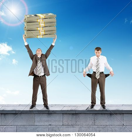 Sad and happy businesspeople with money and empty pockets