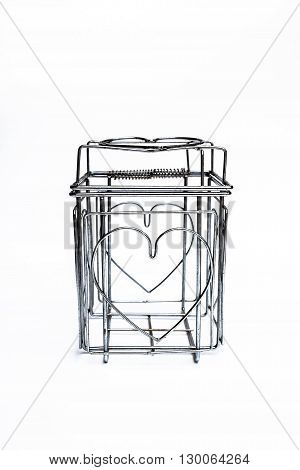 Steel Cage Heart white background love square
