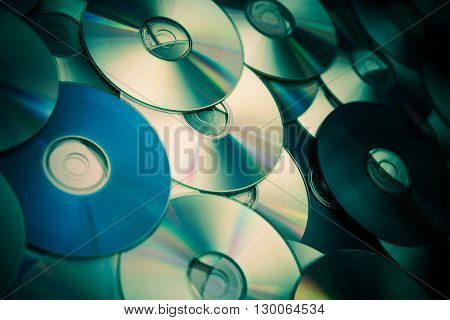 Compact Discs Full of Music. Laser Compact Disc Sound Technology.