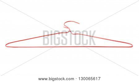 Clothes coat red hanger isolated over white background