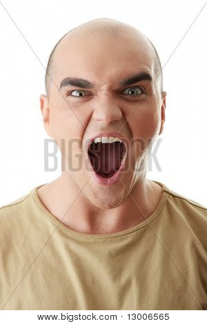 Angry man screaming, isolated on white
