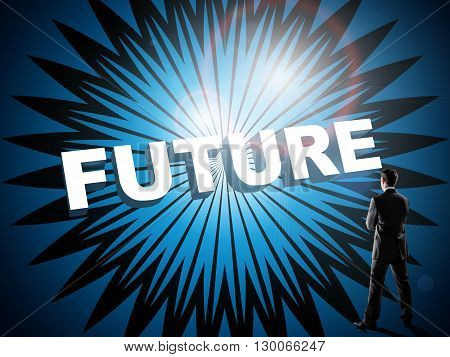 Businessman in suit watching on blue digital virtual screen with word future