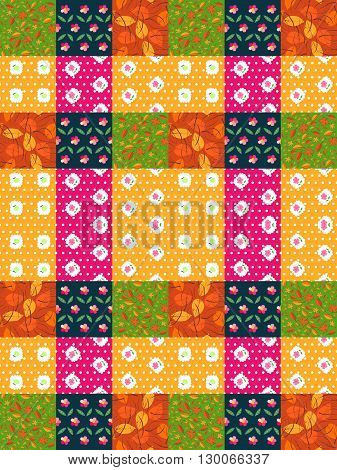 Seamless patchwork pattern from bright colorful patches with leaves and flowers. Vector illustration. Quilting design background.