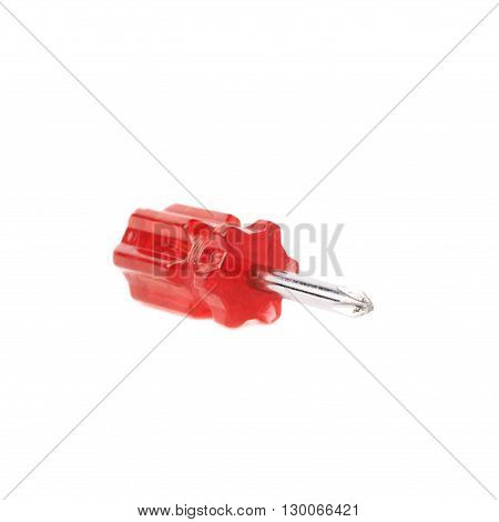 Cruciform screwdriver with the red handle isolated over white background