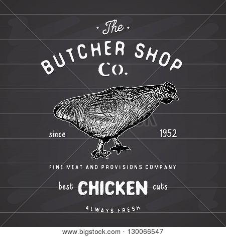 Butcher Shop Vintage Emblem, Chiken Meat Products, Butchery Logo Template Retro Style. Vintage Desig