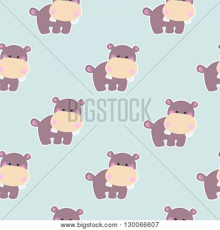 Seamless baby pattern with a cute little hippopotamus on a light blue background
