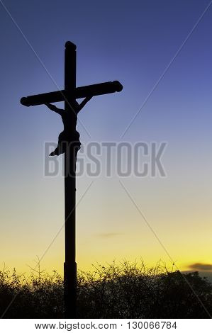View for the morning cross with a blue sky background