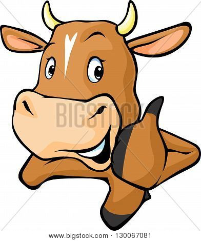Funny cow peeks out from behind a white surface - vector cartoon illustration. Cow showing thumbs up.