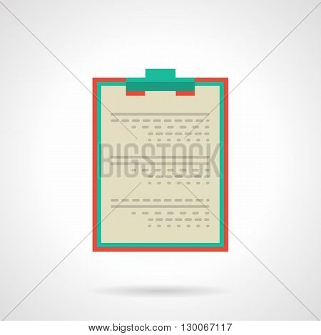 Document with red clipboard. Medical professional tablet for notes, doctor prescription, patient data and  examination, diagnosis and treatment. Flat color style vector icon.