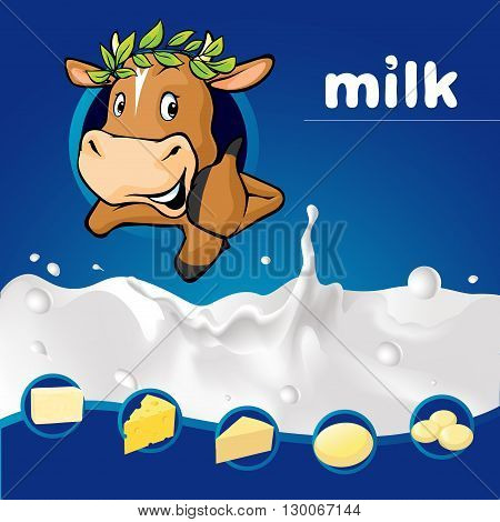 Dark blue Milk design with cow with laurel wreath peeking and dairy product - vector illustration