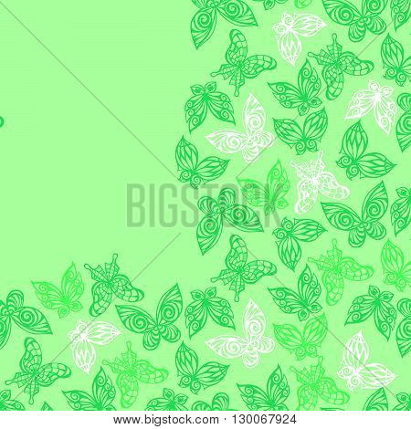 Seamless Pattern With Doodle Stylize Different Butterflies