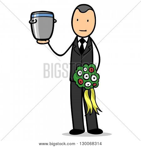 Cartoon man as undertaker with an urn in his hand