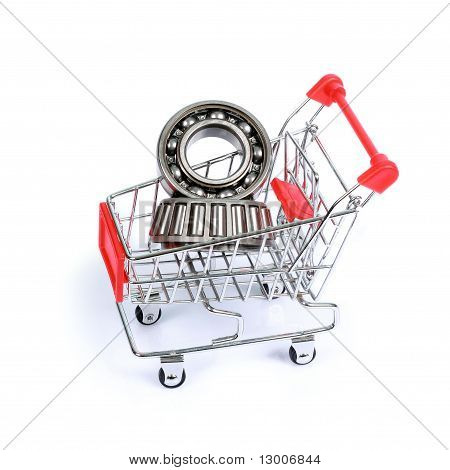 Ball Bearings In Shopping Cart Isolated