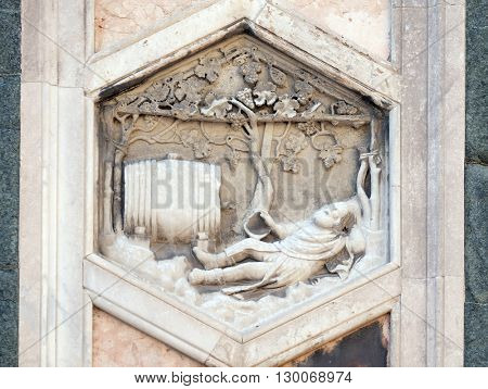 FLORENCE, ITALY - JUNE 05: Noah by Collaborator of Andrea Pisano, 1334-36., Relief on Giotto Campanile of Cattedrale di Santa Maria del Fiore, Florence, Italy on June 05, 2015
