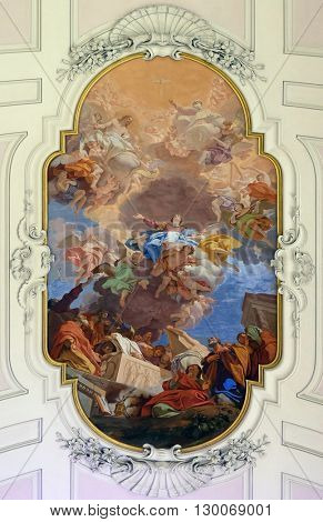 FLORENCE, ITALY - JUNE 05: Assumption of the Virgin Mary, fresco on the ceiling of the Saint Philip Neri church, Complesso di San Firenze in Florence, Italy, on June 05, 2015