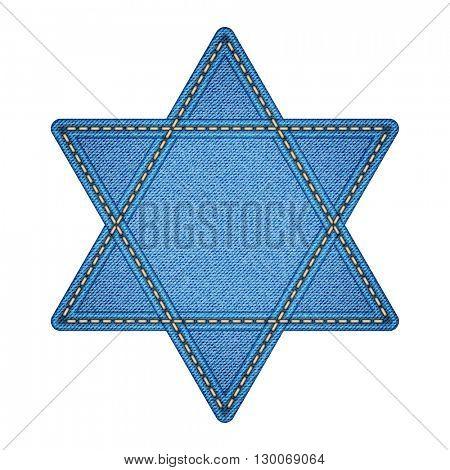 Star of David. Denim stylized. Jpeg version.