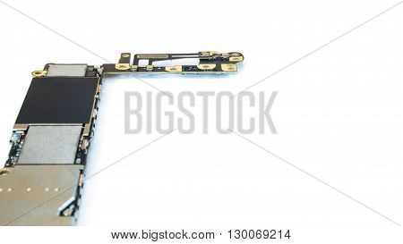 Smart phone circuit board isolate left side on white background Selective Focus Copy Space