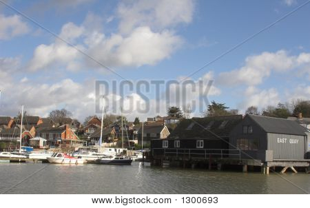 River Quayside With Boats & Houses