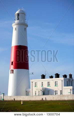 Main Red And White Lighthouse On Portland Near Weymouth In Dorse
