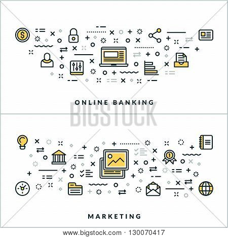 Online Banking and Marketing. Vector Flat Thin Line Illustration for Website Banner or Header. Flat Line Icons and Geometric Design Elements
