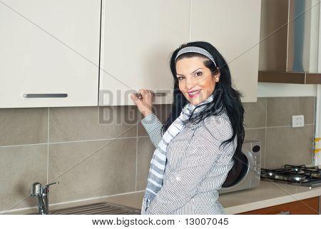 Woman Open Kitchen Closet