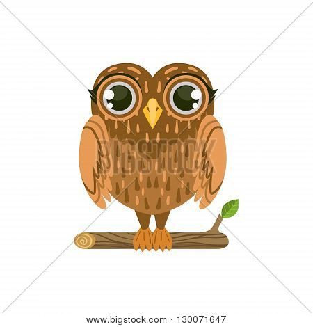 Owl Friendly Forest Animal Flat Vector Icon In Cute Girly Style Isolated On White Background