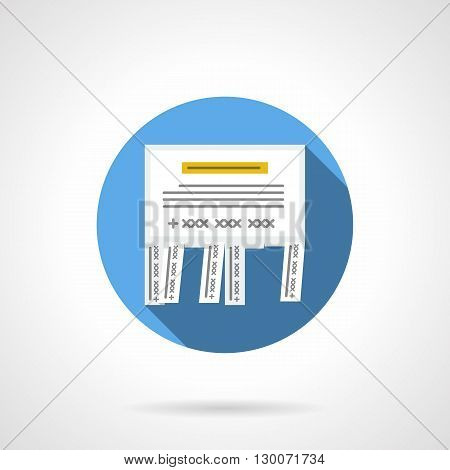 Tear-off ad with text with long shadow. Wall announcements, outdoor advertising and public information messages. Round flat color style vector icon.