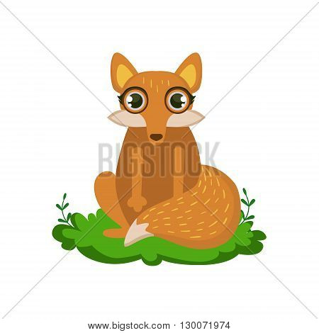 Fox Friendly Forest Animal Flat Vector Icon In Cute Girly Style Isolated On White Background