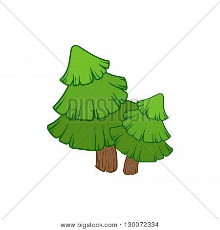 Two Fir Trees  Flat Vector Icon In Cute Girly Style Isolated On White Background