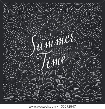 Summertime. Handwritten phrase on an abstract background of sea and sky on chalk board. Black and white doodles