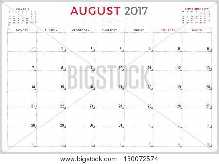 Calendar Planner For 2017 Year. Vector Design Template. August. Week Starts Monday. 3 Months On Page