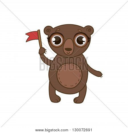 Toy Brown Bear With Flag Flat Vector Icon In Cute Girly Style Isolated On White Background