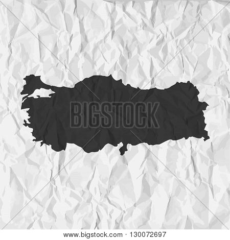 Turkey map in black on a background crumpled paper