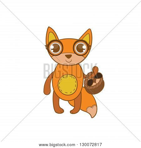Toy Fox With Basket Flat Vector Icon In Cute Girly Style Isolated On White Background