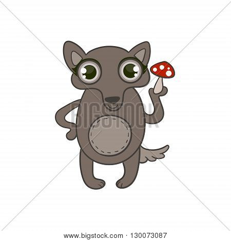 Toy Wolf With Death Cap Flat Vector Icon In Cute Girly Style Isolated On White Background