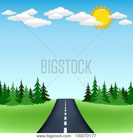 The road trip with spruce forest on the horizon and blue sky with sun and clouds on background
