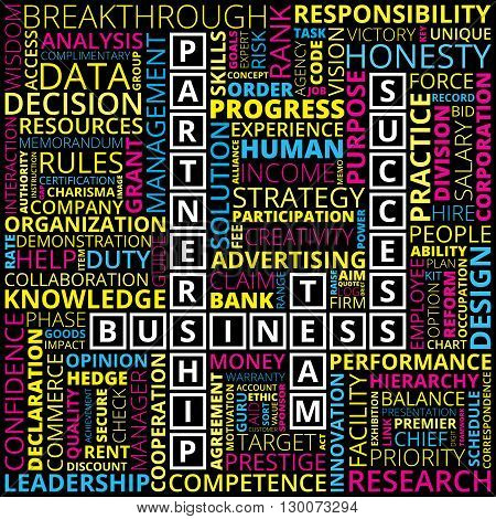 Multicolored horizontal and vertical placed business and finance related words on black background. Abstract business and finance words concept. Business and finance related words background