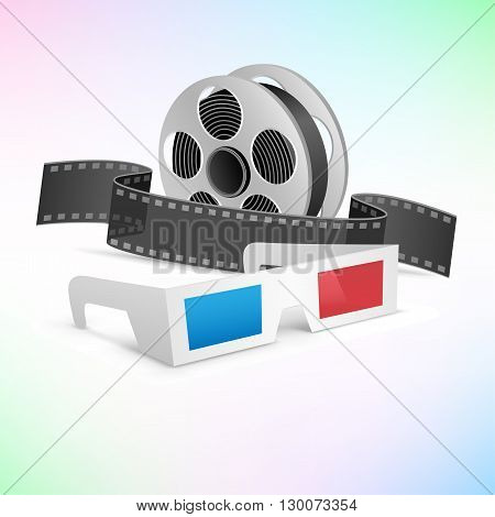 The movie cinema set. 3d glasses, clapper and film cartridge on tne colored background