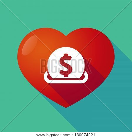 Long Shadow Red Heart With  A Dollar Coin Entering In A Moneybox