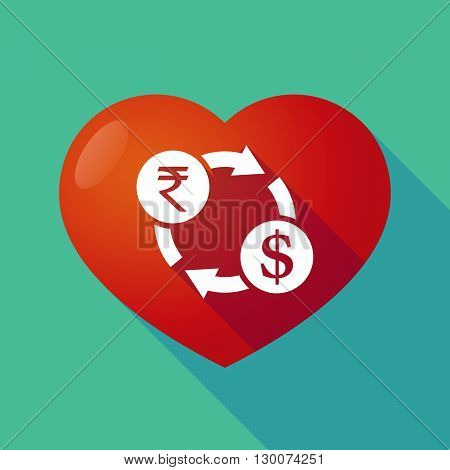 Long Shadow Red Heart With  A Rupee And Dollar Exchange Sign