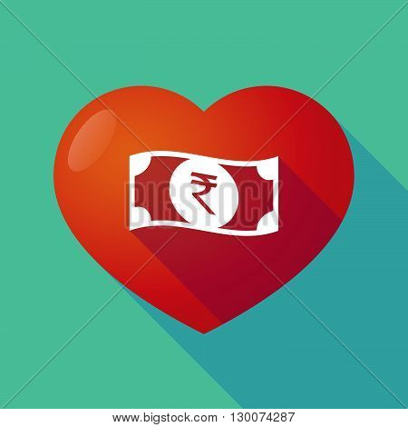 Long Shadow Red Heart With  A Rupee Bank Note Icon