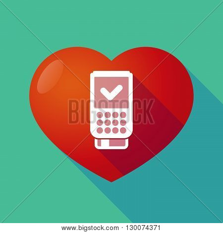 Long Shadow Red Heart With  A Dataphone Icon