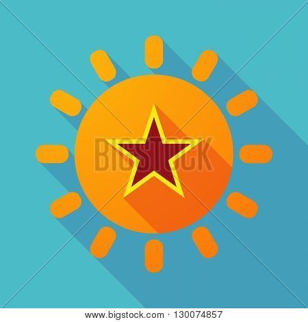 Long Shadow Sun With  The Red Star Of Communism Icon